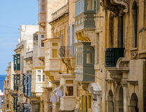 Typical Maltese covered balconies in Valletta, Malta Stock Images