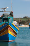 Typical Maltese fishing boat. Typical colorful maltese fishing boat Stock Photos