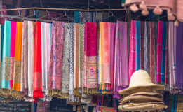 Typical market in Marrakesh, Morocco. Scarfs in the market at Marrakesh, Morocco Stock Photos
