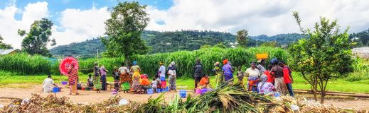 Typical market scene in a village in North West Rwanda. Nyungwe, Rwanda - 13 May 2015: Typical market scene in a village in North West Rwanda royalty free stock photos