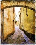 Typical medieval italian street Stock Photos