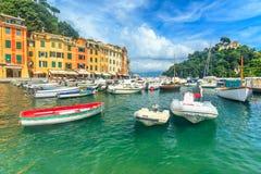 Typical mediterranean buildings,castle and harbor,Portofino,Liguria,Europe Royalty Free Stock Image