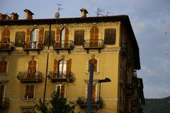 Typical mediterranean facade in the morning royalty free stock photography