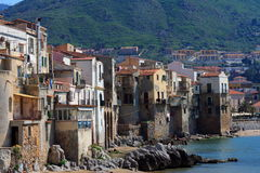 Typical Mediterranean houses. Typical old Mediterranean houses in sicily (italy). The small village of cefalu Royalty Free Stock Images
