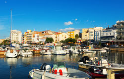 Typical mediterranean town from  port. L'Ampolla Stock Images