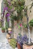 Typical Mediterranean Village with Flower Pots in Facades in Val Stock Photos