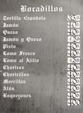 Typical menu. Closeup of a typical spanish menu in Cuenca, Castilla La Mancha, Spain Stock Photography