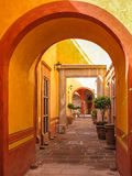 Typical mexican yard, Santiago de Queretaro, Mexico. A glance into colonial yard in the historical center of Santiago de Queretaro town, Mexico Stock Photography