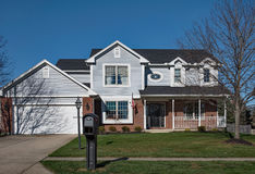 Typical Midwest House with Streetside Mailbox Stock Photography