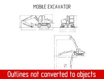Typical mobile excavator overall dimensions outline blueprint template Stock Photo