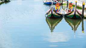 Typical Moliceiro boat of Aveiro. Portugal. Stock Images