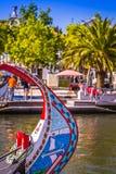 Typical Moliceiro,gondolas, in Vouga river. Aveiro, Portugal Royalty Free Stock Photography