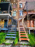 Typical Montreal neighborhood street  with staircases Royalty Free Stock Photography