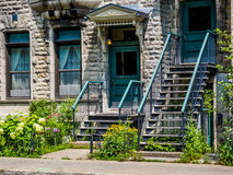 Typical Montreal neighborhood street  with staircases Stock Image
