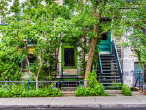 Typical Montreal neighborhood street  with staircases Royalty Free Stock Photo