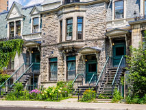Typical Montreal neighborhood street  with staircases Royalty Free Stock Photos