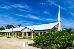 Typical Mormon church. The Church of Jesus Christ of Latter-day Saints in rural Oceania. Tonga, Polynesia, South Pacific Ocean. stock photography