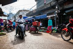 Typical morning traffic jam at the Vietnamese street market stock image