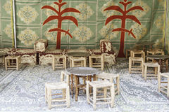 Typical Moroccan Bar to take tea. Detail of a traditional Arabic place Stock Images