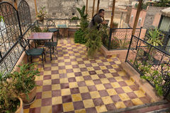 Typical Moroccan Roof Terrace. In the old medina of Morocco, Africa Stock Image