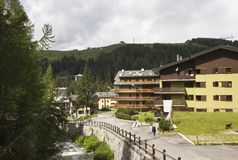 Typical mountain chalet during the summer Royalty Free Stock Image