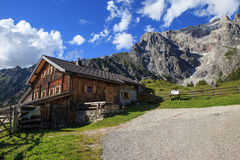 Typical mountain huts in the Austrian Alps Stock Photos