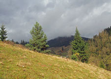 Typical mountain landscape with clouds in Ukrainian Carpathians Royalty Free Stock Photography