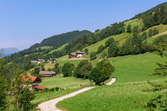 Typical mountain landscape and house in the Dolomites, south Tyr Stock Photos