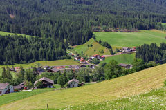 Typical mountain landscape and house in the Dolomites, south Tyr Stock Photography