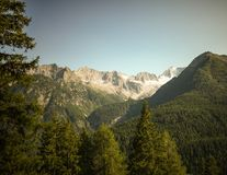 Typical mountain landscape on the Italian dolomites. Typical mountain landscape on the beautiful Italian dolomites royalty free stock photography