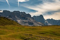Typical mountain landscape on the Italian dolomites. During summer stock photos