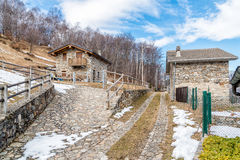 Typical mountain village with the stone houses Stock Photos