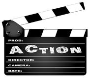 Action Movie Clapperboard. A typical movie clapperboard with the legend ACTION isolated on white Royalty Free Stock Photos