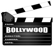 Bollywood Clapperboard Over A White Background. A typical movie clapperboard with the legend BOLLYWOOD isolated on white Stock Photos