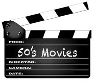 50`s Movies Clapperboard. A typical movie clapperboard with the legend 50`s Movies isolated on white Royalty Free Stock Photos