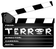 Terror Clapperboard. A typical movie clapperboard with the legend TERROR isolated on white Stock Image