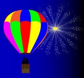 4th July Hot Air Balloon. A typical multi coloured hot air balloon floating away with a couple in silhouette in the basket set against a 4th July celebration sky Royalty Free Stock Images