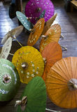 Typical Myanmar Umbrellas Stock Photo