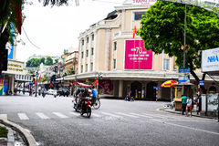 Typical narrow colorful and beautiful houses in the street of Hanoi. Ha Noi is the capital and the second largest city in Vietnam Royalty Free Stock Image