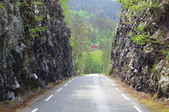 Typical narrow road in Norway Stock Photography