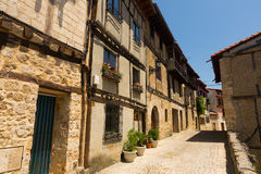 Typical narrow street in Frias. Burgos stock images