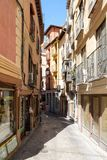 Typical narrow street on the medieval city of Toledo in Spain Stock Images