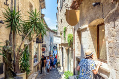 Typical narrow street in Saint Paul de Vence, France Stock Images