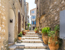 Typical narrow street in Saint Paul de Vence, France Stock Image