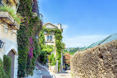 Typical narrow street in Saint Paul de Vence, France Royalty Free Stock Images