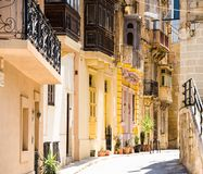Typical narrow street in Valletta Royalty Free Stock Photo