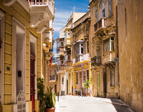 Typical narrow street in Valletta Royalty Free Stock Images