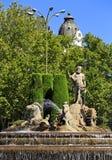 Typical Neptuno fountain in Paseo de la Castellana, Madrid, Spain. Stock Photo