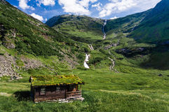 Typical nordic wooden hut in Norway mountains Stock Image