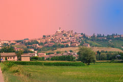 Typical Northern Italian Village. Montegrosso, village in the province of Asti, Italy. Famous for the production of the red wine Barbera Stock Photos